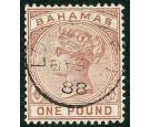 SG57. 1884 £1 Venetian-red. Exceptionally fine used with c.d.s..