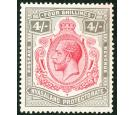 SG95d. 1913 4/- Carmine and black. 'Nick in top right scroll'. U