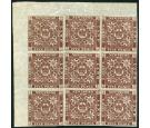 SG13. 1860 5d Venetian red. Lovely fresh top corner blcok of 9..