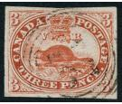 SG22. 1857 3d Red. 'Ribbed Paper'. Brilliant fine used...
