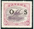 "SG O62a. 1931 6d Dull purple and red-purple. ""POSTACE"" at right."