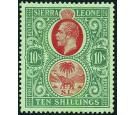 SG146. 1927 10/- Red and green/green. Very fine fresh mint...