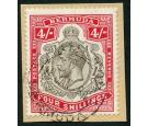 SG52b. 1920 4/- Black and carmine. Brilliant fine used on piece.