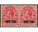 SG140a. 1917 1d Red 'Overprint Double'. Superb mint pair...