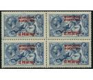 SG141. 1915 12p on 10/- Blue. Superb fresh mint block of 4...