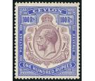 SG360a. 1927 100r Dull purple and blue. 'Break in scroll'. Brill