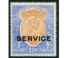 SG O96. 1913 25r Orange and blue. 'Official'. Superb fresh mint.