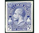 1928. 5/- Imperforate Plate Proof in Blue...