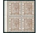 SG19a. 1888 2/- Deep brown. Superb fresh mint block of 4...