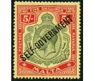 SG113. 1922 5/- Green and red/yellow. Choice superb fresh mint..