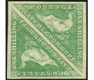 SG21. 1863 1/- Bright emerald-green. Brilliant fresh mint pair..