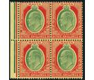 SG63. 1911 5/- Green and red/yellow. U/M mint block...
