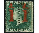 SG28a. 1880 1d on half 6d Deep blue-green. 'Unsevered Pair'. Ver
