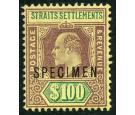 SG122s. 1903 $100 Purple and green/yellow. 'SPECIMEN'. Superb U/