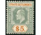 SG138. 1905 $5 Dull green and brown-orange. Superb fresh well ce