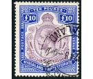 SG99e. 1919 £10 Purple and royal blue. Superb fine used...