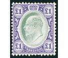 SG272a. 1908 £1 Green and violet. Chalk-surfaced paper. Superb m