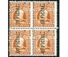 SG O74. 1910 3d Chestnut. 'OFFICIAL'. Brilliant mint block...