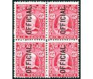 SG O75. 1910 6d Carmine. 'OFFICIAL'. Superb mint block...