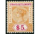 SG105. 1898 $5 Orange and carmine. Choice superb fresh mint...