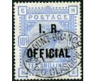 SG O10a. 1890 10/- Ultramarine. Raised stop after 'R'. Brilliant