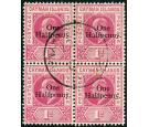 SG17. 1907 1/2d on 1d Carmine. Superb fine used block of four...
