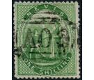 SG14a. 1876 1/- Yellow-green. 'LAID PAPER'. Superb used...