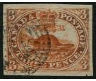 SG7. 1852 3d Scarlet-vermilion. Superb used with large margins..