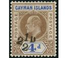 SG35. 1908 2 1/2d on 4d Brown and blue. Superb fresh well centre