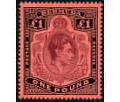 SG121bf. 1943 £1 Pale purple and black/pale red/ 'Gash in chin'.