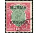 SG O14. 1937 10r Green and scarlet. Superb fine used...