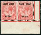 SG2c. 1923 1d Rose-red. 'Af.rica' for 'Africa'. Superb fresh cor