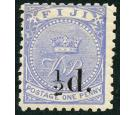 SG72. 1892 1/2d on 1d Dull blue. Superb fresh mint...