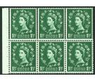 SG542 Variety. 1 1/2 Green. Booklet pane of 6. Upper rows showin