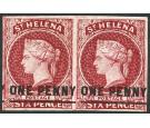 SG8. 1871 1d Lake. Brilliant fresh mint pair...
