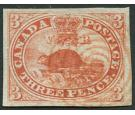SG5. 1852 3d Red. Brilliant fine used with RED concentric rings