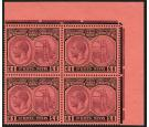 SG36. 1922 £1 Purple and black/red. Brilliant U/M corner block o