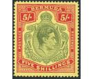 SG118b. 1942 5/- Dull yellow-green and red/yellow. Brilliant U/M