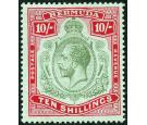 SG54c. 1922 10/- Green and red/pale bluish green. Brilliant fres