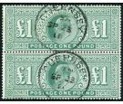 SG266. 1902 £1 Dull blue-green. Choice superb fine used pair....