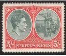 SG77ae. 1943 5/ Grey green and scarlet. 'Break in oval at left'.