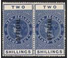 SG O87a. 1925 2/- Blue. Lightly hinged mint horizontal pair...