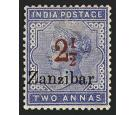 SG26k. 1895 2 1/2a on 2a Pale blue. Roman '1' in '1/2'...