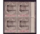 SG22. 1905 1p Black and carmine. Superb fresh mint block...