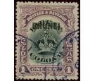 SG11a. 1906 1c Black and purple Error 'Black Overprint'. A well