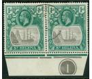 SG98c. 1922 1d Grey and green. 'Cleft Rock'. Used Plate pair...