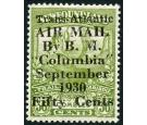 "SG191. 1930 50c on 36c Sage-green. ""COLUMBIA"". Brilliant fresh w"