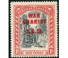 SG101a. 1919 1d Grey-black and deep carmine-red. 'Overprint Doub