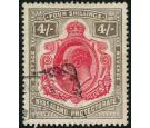 SG79. 1908 4/- Carmine and black. Very fine well centred used...