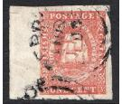 SG11. 1853 1c Vermilion. Sheet marginal used...